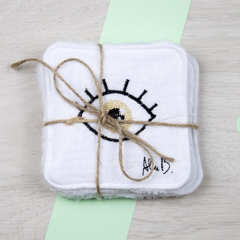 Lingettes démaquillantes brodées Alice B. | GreenMeow