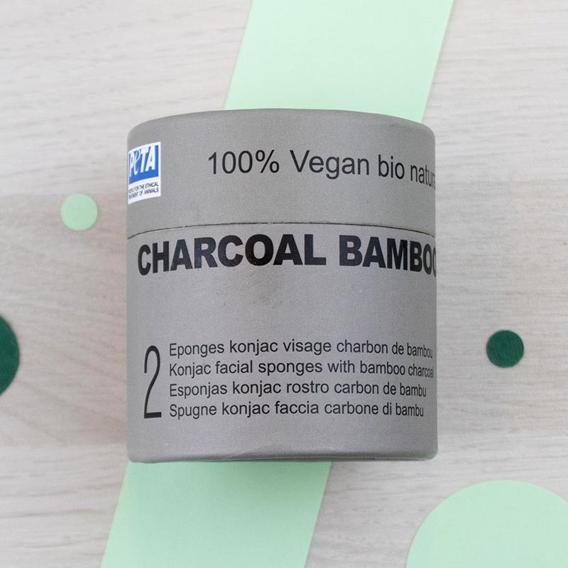 Duo d'éponges Konjac visage au Charbon de bambou - DBS | GreenMeow