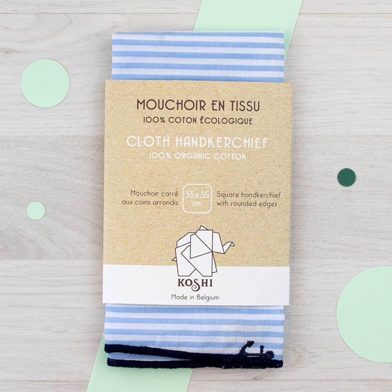 Mouchoir large Marin avec ancres brodées Koshi | GreenMeow