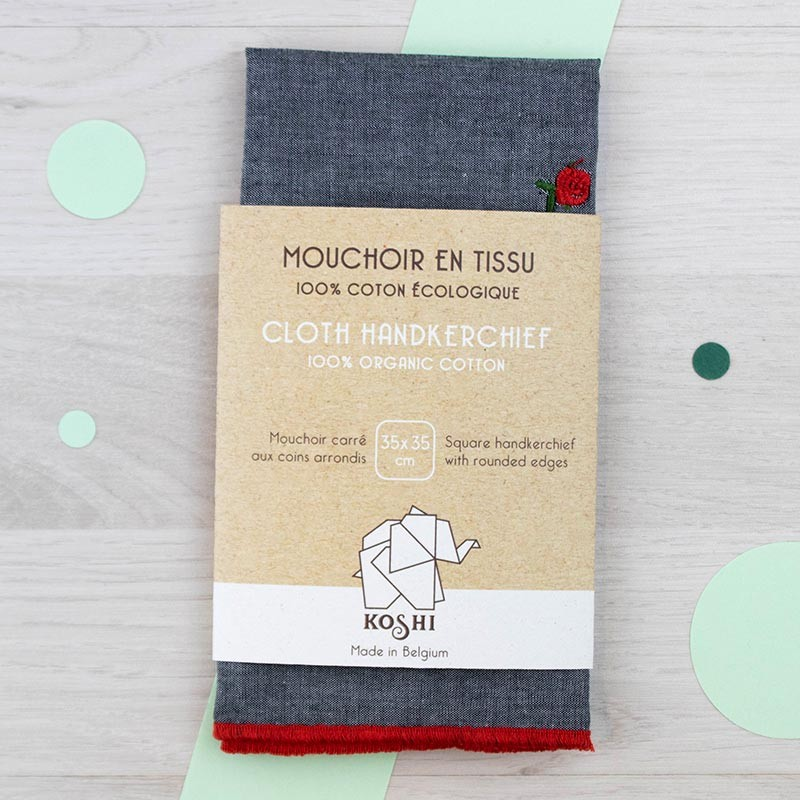 Mouchoir large Gris avec roses brodées Koshi | GreenMeow
