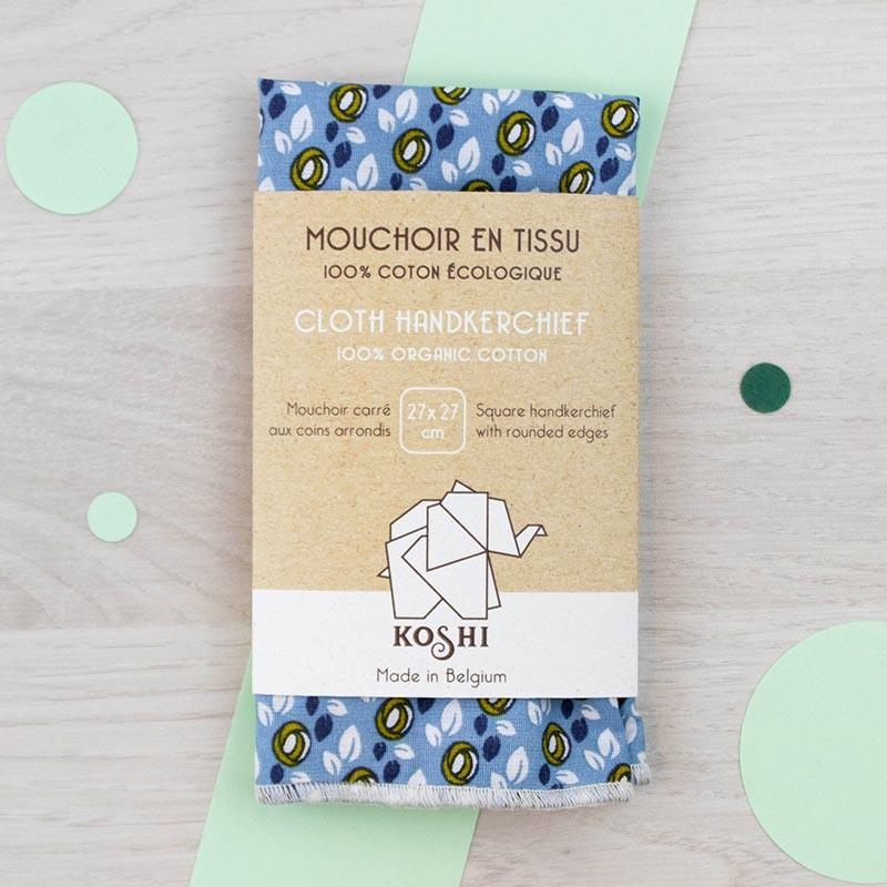 Mouchoir small Bleu motifs fleurs jaunes Koshi | GreenMeow