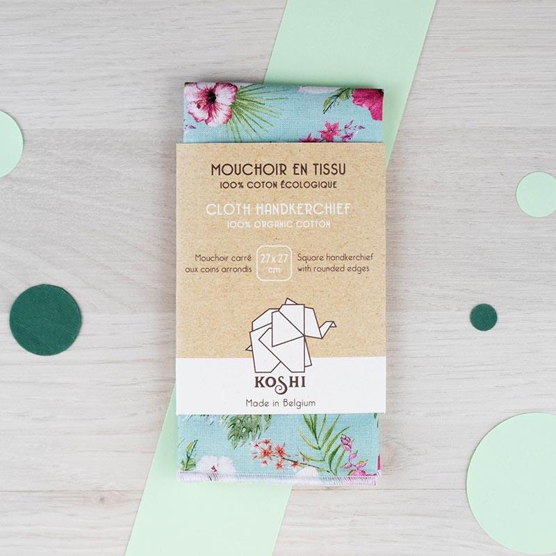Mouchoir small Fleurs paradis Koshi GreenMeow