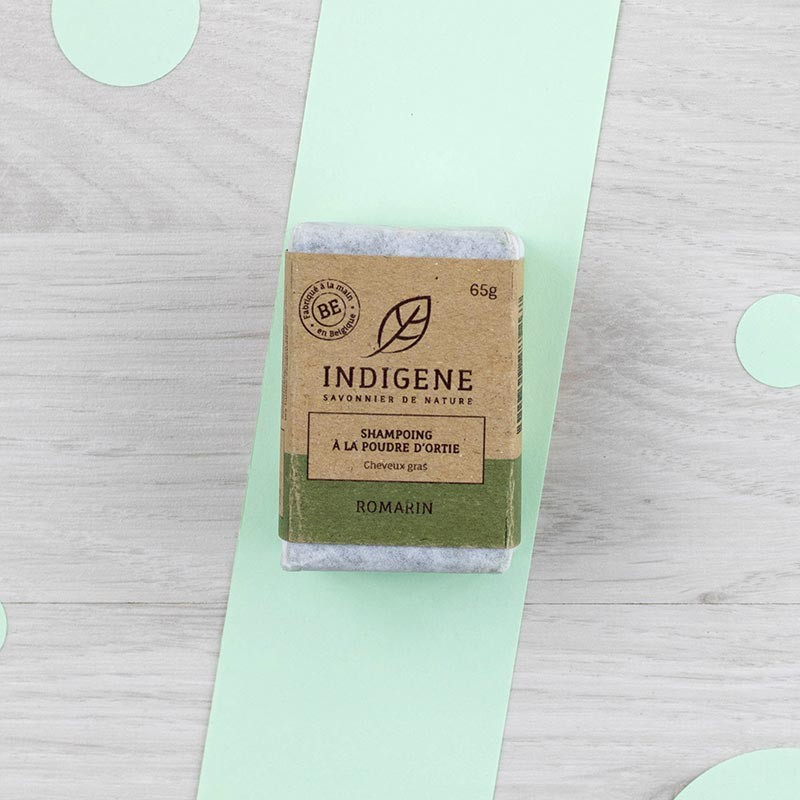 Shampoing solide Ortie et Romarin Cheveux gras Indigène | GreenMeow